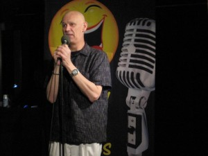 Host Brian B introducing the night of comedy Day 43: Sunday Night Funnies
