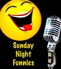 Sunday Night Funnies logo which also serves as the backdrop for the evening Day 43: Sunday Night Funnies