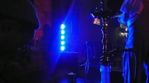 View of a hookah and the lounge from the stage courtesy of Hookah Lounge Day 78: Eastown Hookah Lounge