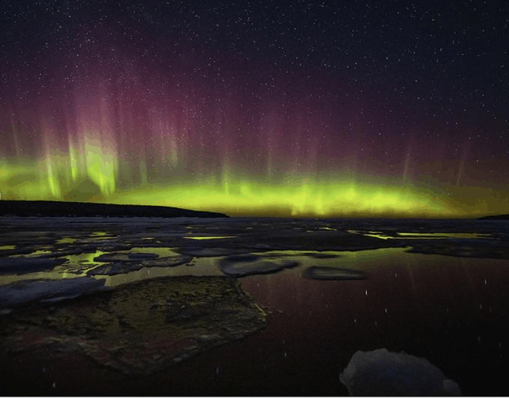 Northern Lights in Michigan: Pictured Rocks