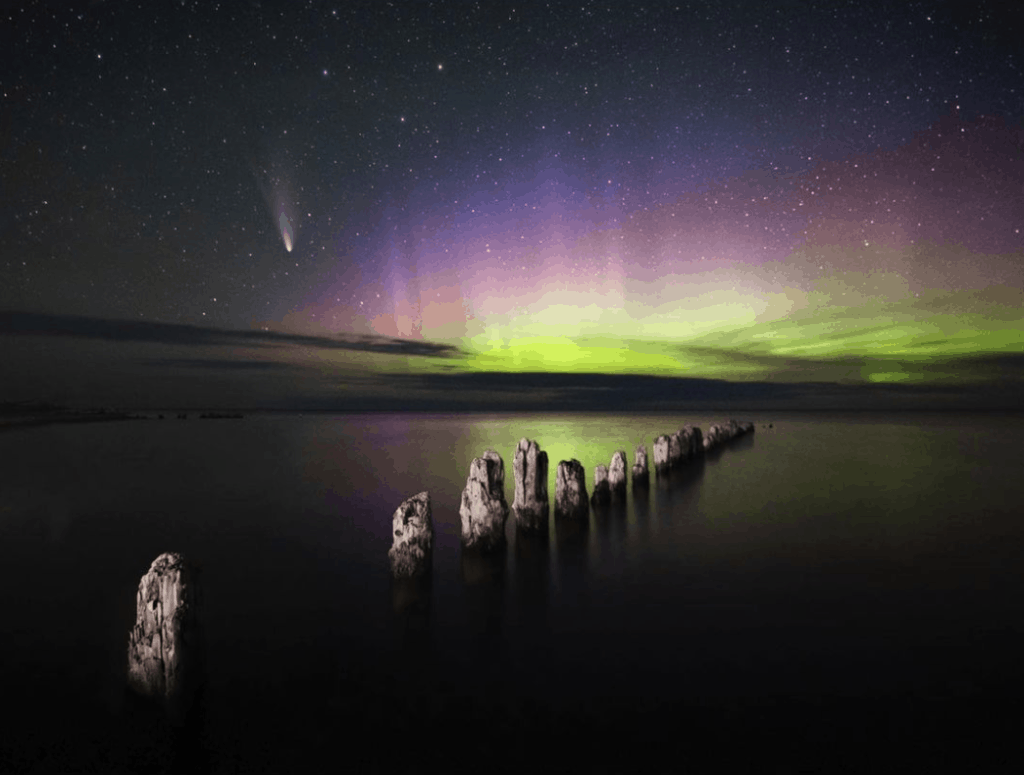 Northern Lights over Whitefish Point Lighthouse in Michigan