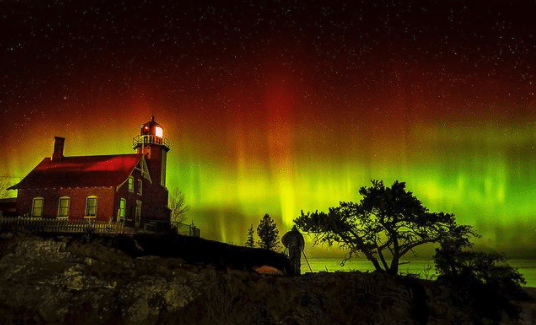 Northern Lights in Michigan: Eagle Harbor Lighthouse