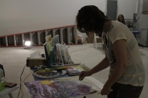 Local artist Judi Kruis working on a water color piece at SPACE event 2 courtesy of Josh Beebe Day 175: SPACE