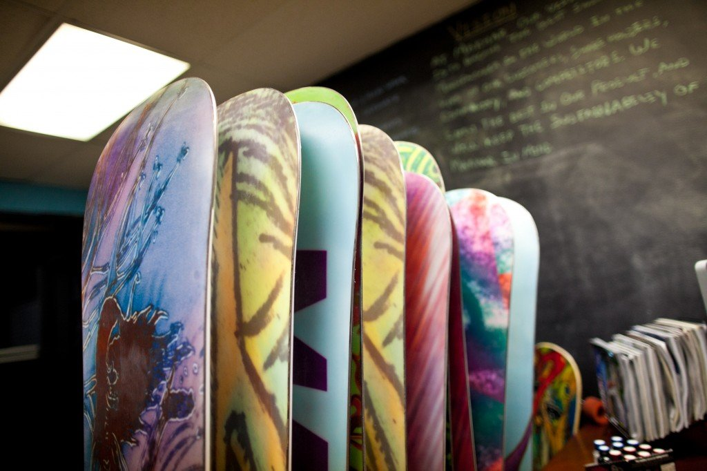 Boards in Marhars office by James Fry Day 184: Marhar Snowboards