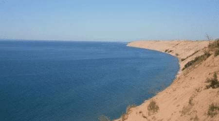 Exploring the Log Slide Scenic Overlook   Pictured Rocks National Lakeshore