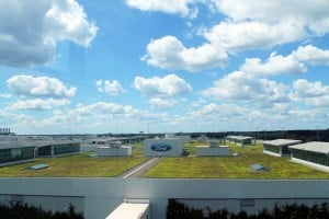 An overhead view of the plant-covered Rouge Factory roof