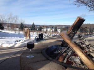 The fire pits at Bower's Harbor Vineyards are perfect for warming up. Photo Courtesy of Jennifer Hamilton