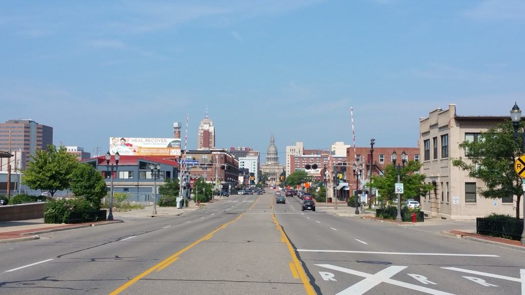 The Michigan State Capitol can be seen on the Lansing skylinefromMichigan Avenue. Photo by Joel Heckaman - Awesome Mitten