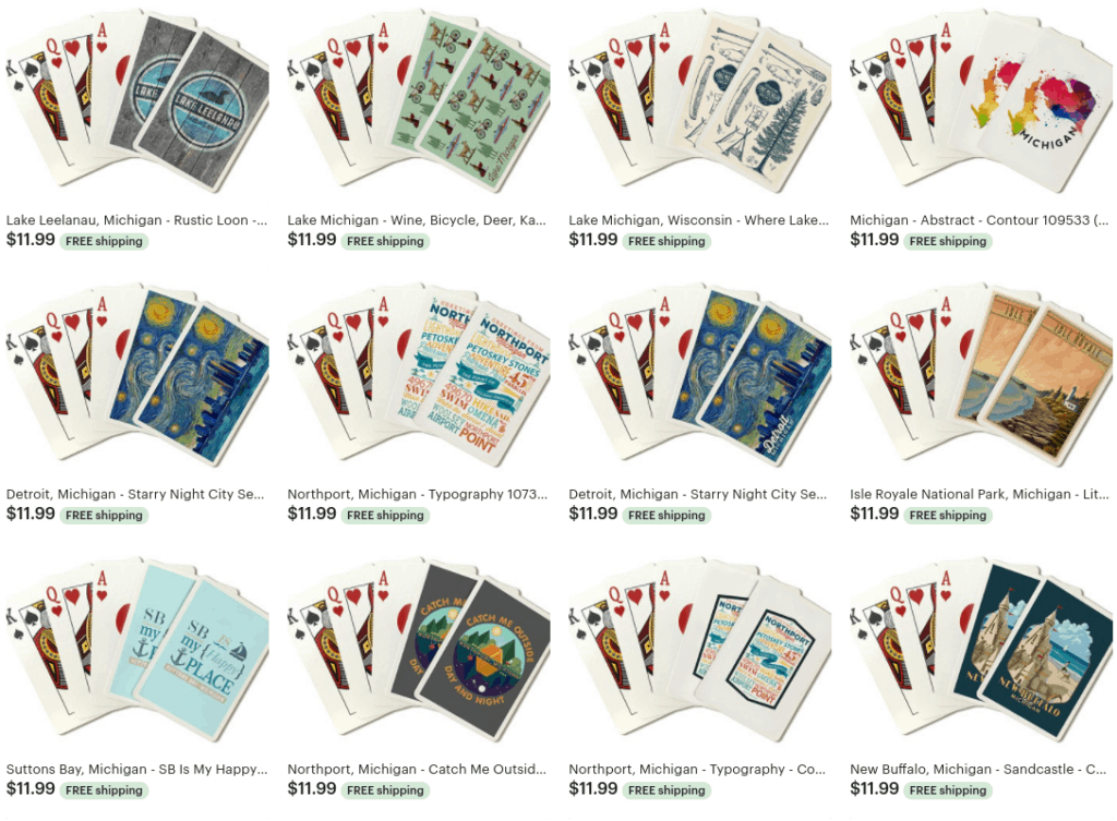 screenshot of Michigan themed card decks on Etsy