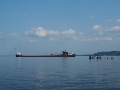 Freighter in Lake Superior - #MittenTrip - Marquette - The Awesome Mitten