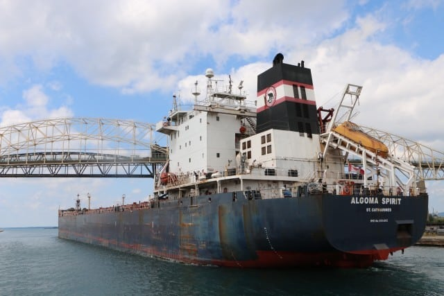 Freighter passing through the Soo Locks - #MittenTrip - Sault Ste Marie - The Awesome Mitten
