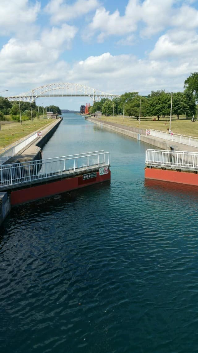Soo Locks from the Canadian side - #MittenTrip - Sault Ste Marie - The Awesome Mitten