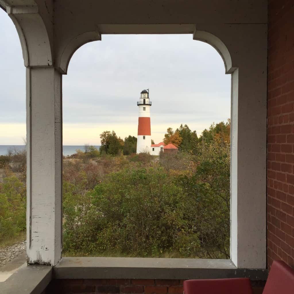 Middle Island Lighthouse from the keeper's house. Photo by Joel Heckaman - Awesome Mitten #MittenTrip