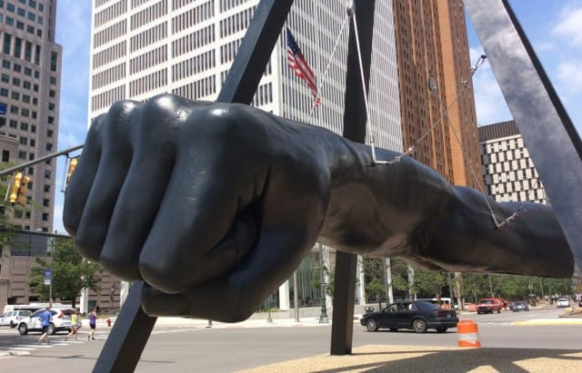 """""""The Fist"""", a sculptural tribute to Joe Louis, in downtown Detroit. Photo courtesy of Daily Detroit."""