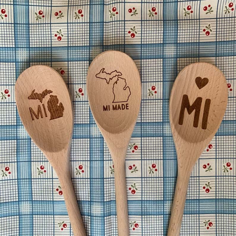 michigan wooden spoons - a perfect michigan foodie gift idea