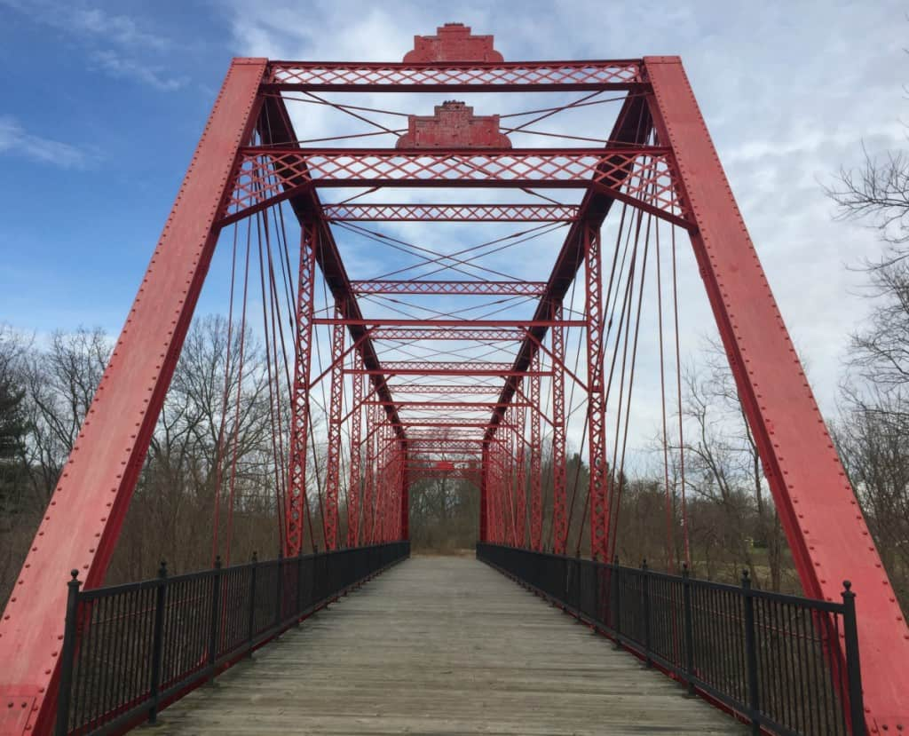Charlotte Highway bridge, built in 1886 and relocated to Bridge Park from Ionia County. Photo by Adam Greene.