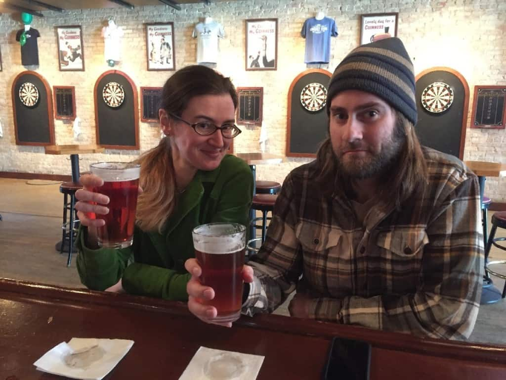 Cheers! Drinking beers from Short's Brewing Company at the Cricket Club. Photo by the bartender, via Rhonda Greene.