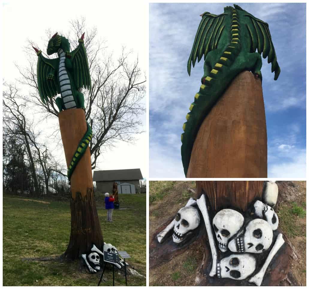 fantasy forest dragon with skulls The Fantasy Forest at Lelia Arboretum | A Hidden Gem in Battle Creek #MittenTrip
