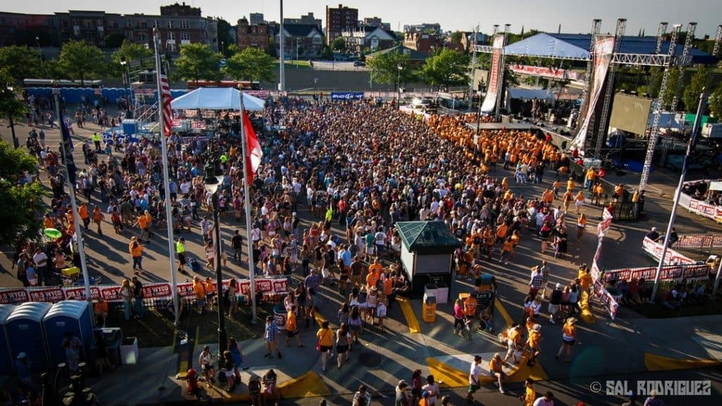 Crowds filing into the Downtown Hoedown. Photo courtesy of The Detroit Wire