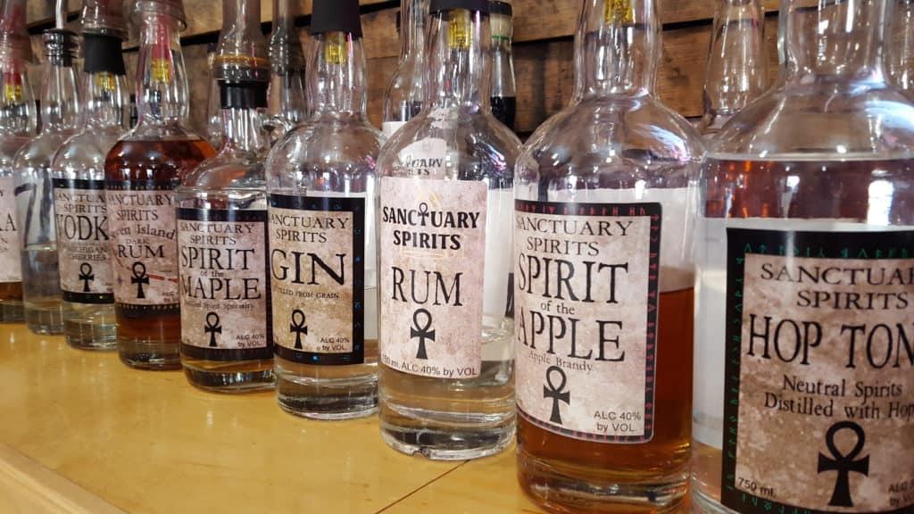 bottles of liquor from Sanctuary Spirits
