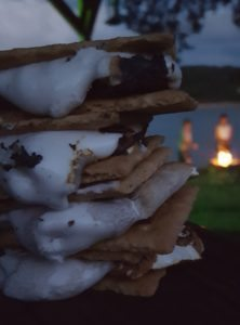 Roasting marshmallows for s'mores is a summer campfire tradition. Photo courtesy of Jackie Mitchell.