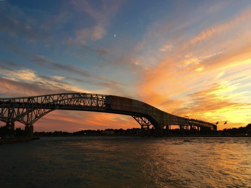 Sunset, Port Huron, Bluewater Bridge - Joel Heckaman - The Awesome Mitten