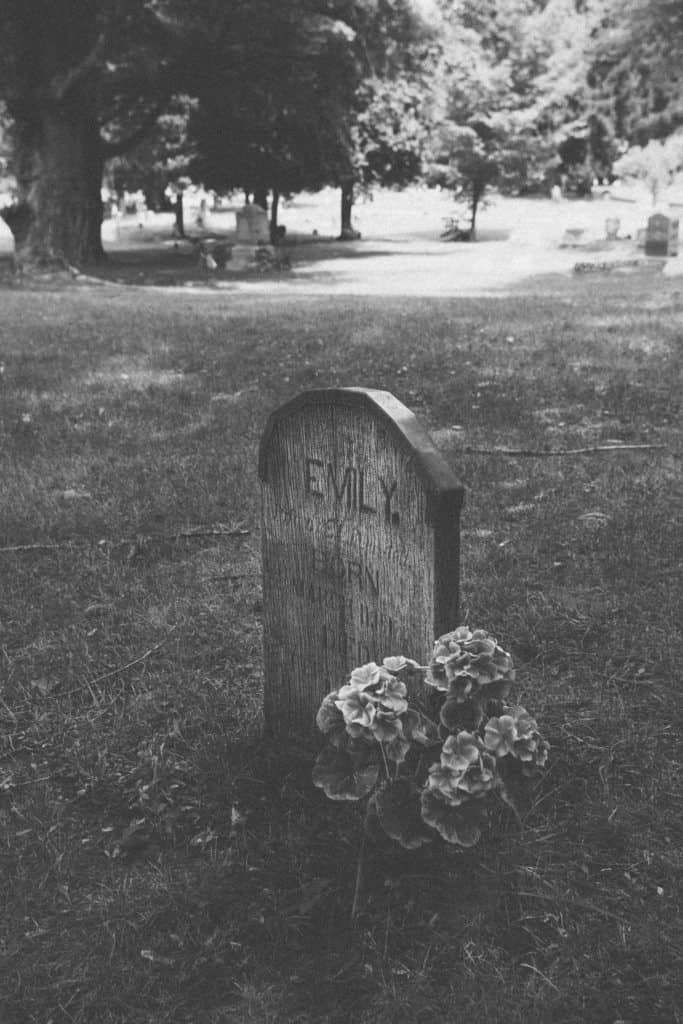 """The wooden """"Emily."""" grave 