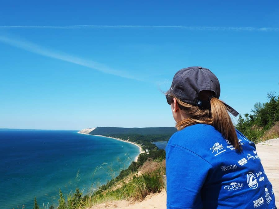 Enjoy a pensive bluff overlook and many more activities during a day trip to Glen Arbor and Empire. Photo by John Kalmar