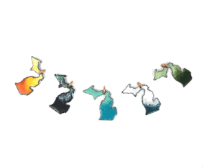 michigan map enamel charms