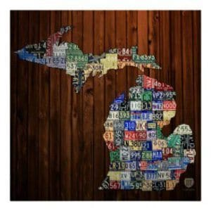 Michigan county map made with license plates