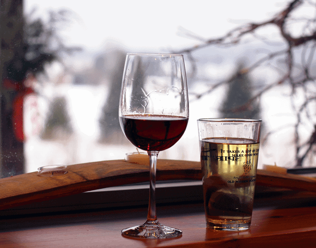 Wine and cider at Bowers Winery. Photo courtesy of Shannyn at Frugal Beautiful