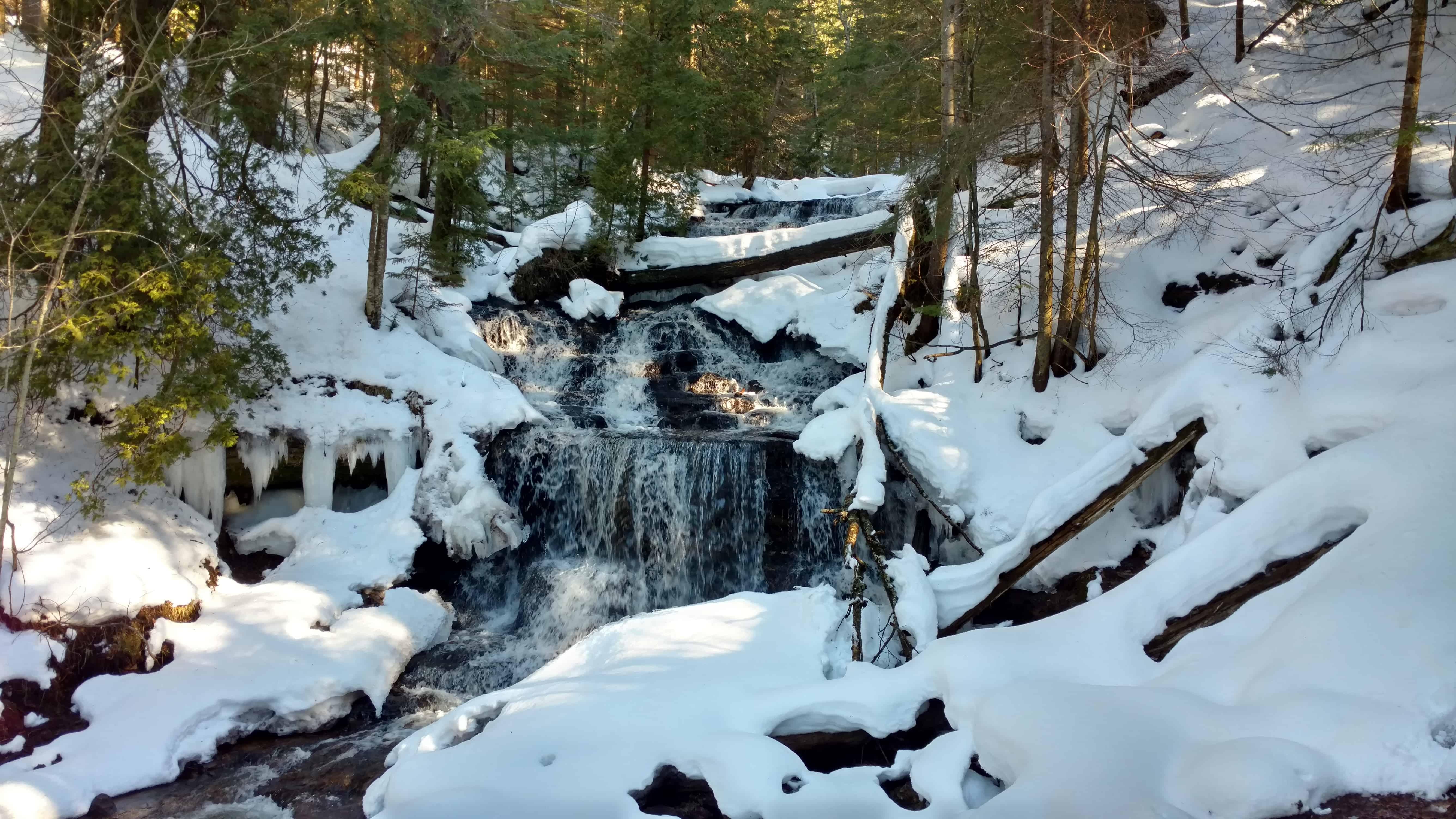 frozen waterfalls in Munising Michigan