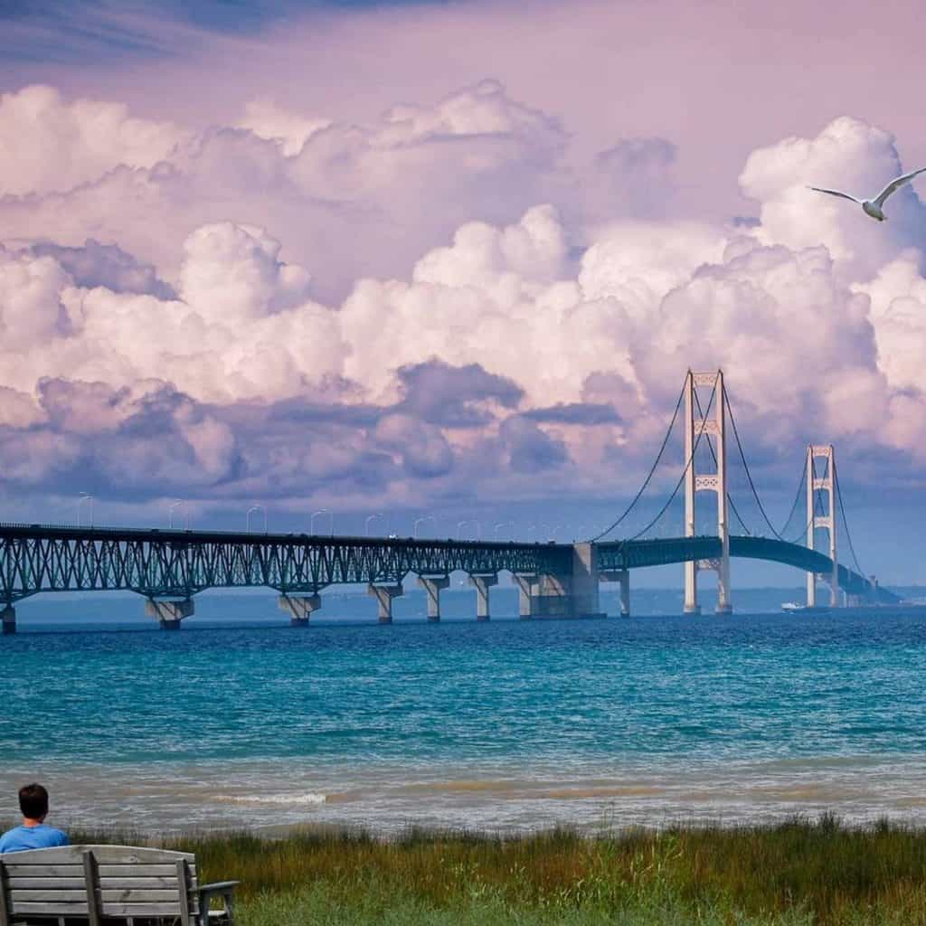 Mackinac Bridge. Photo courtesy of scottshieldsphoto Instagram - The Awesome Mitten