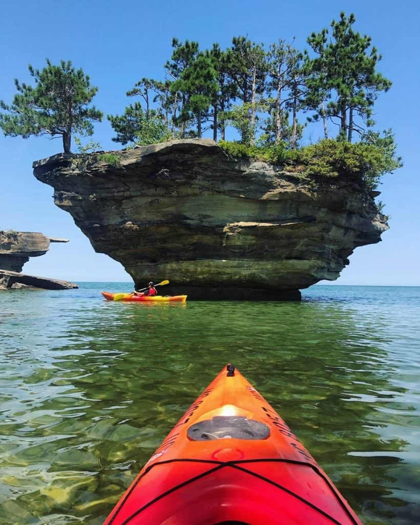 The best view of Turnip Rock is by kayak. Photo courtesy of camera_jesus Instagram - The Awesome Mitten