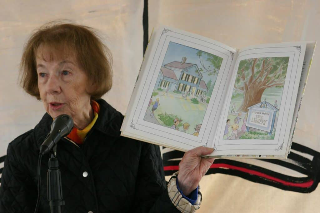 Gloria Whelan reading at an event - The Awesome Mitten