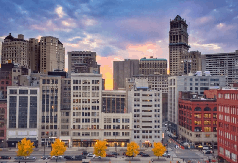 Downtown Detroit - Fall in Michigan