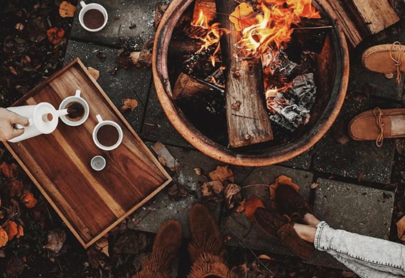 camp fire - fall in michigan