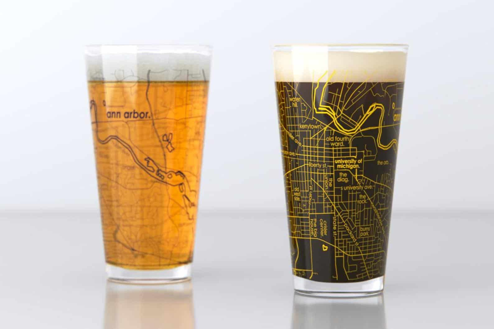Ann Arbor Street Map Pint Glasses - an ultimate michigan gift idea