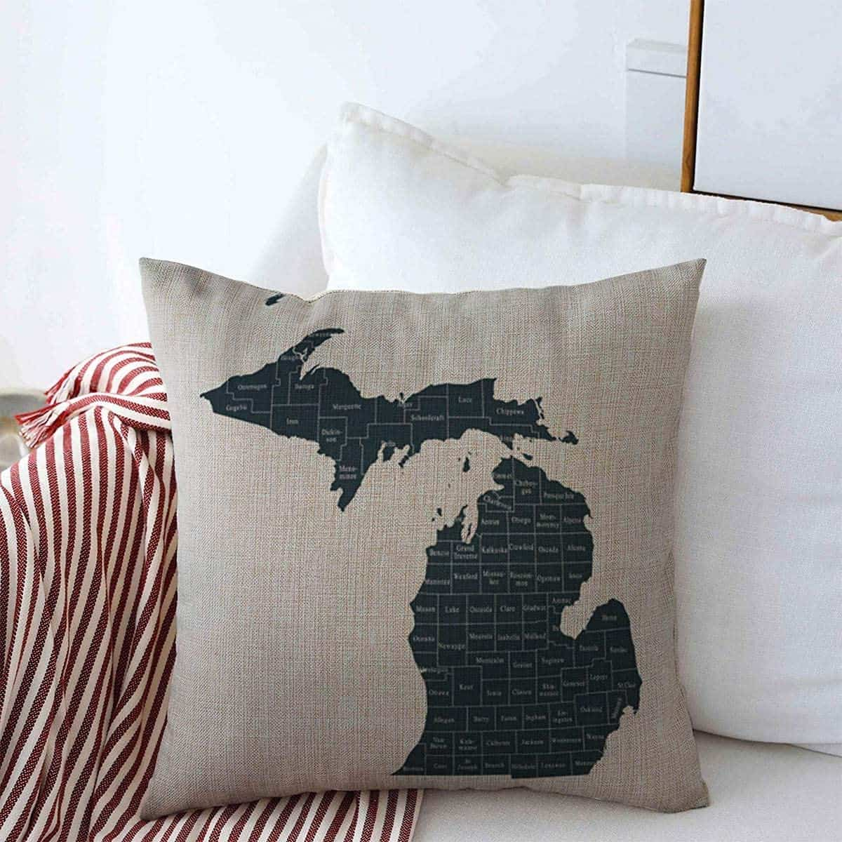 Michigan Counties Throw Pillow - an ultimate michigan gift idea