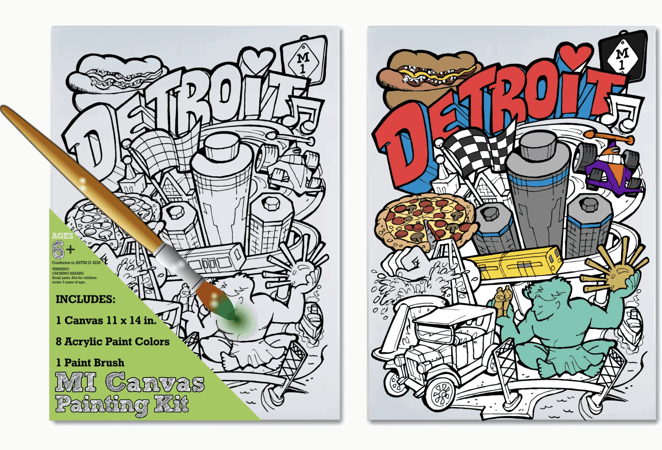 MI Canvas Painting Kit: Detroit - an ultimate michigan gift idea