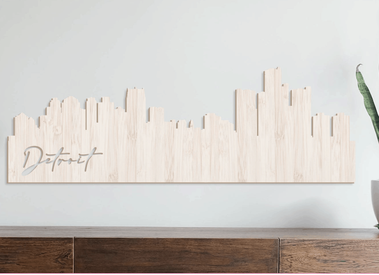City Skyline Wall Hanging - an ultimate michigan gift idea