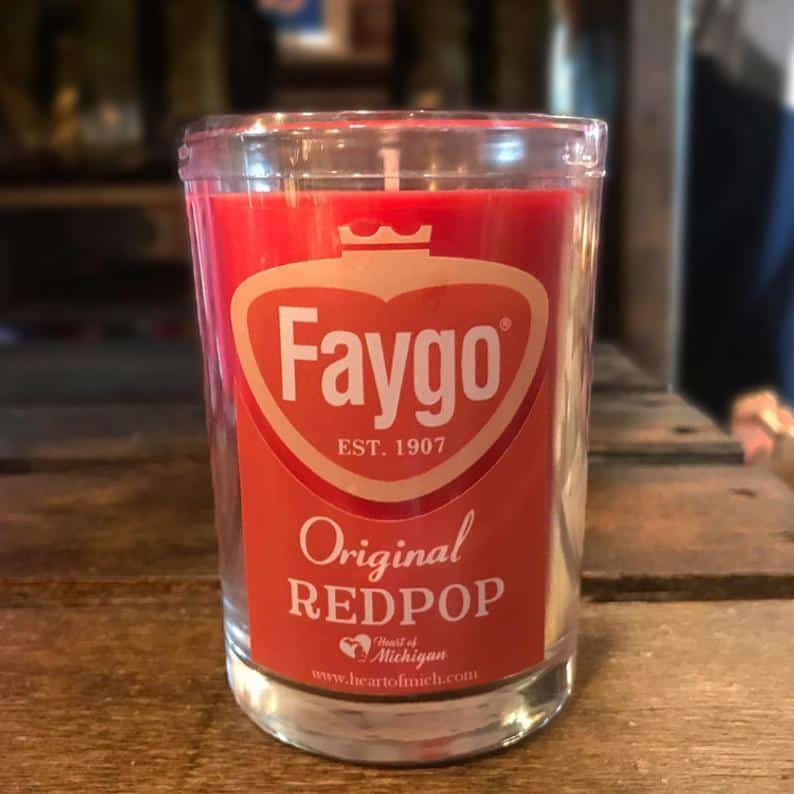 Faygo Red Pop Candle - an ultimate michigan gift idea