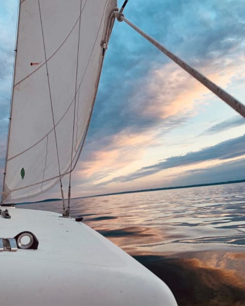 sailing on Grand Traverse Bay, Traverse City Michigan