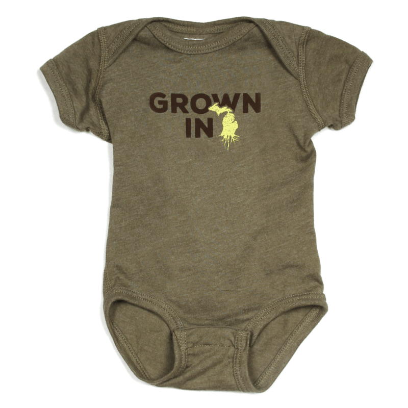 Grown in Michigan onesie - an ultimate michigan gift idea
