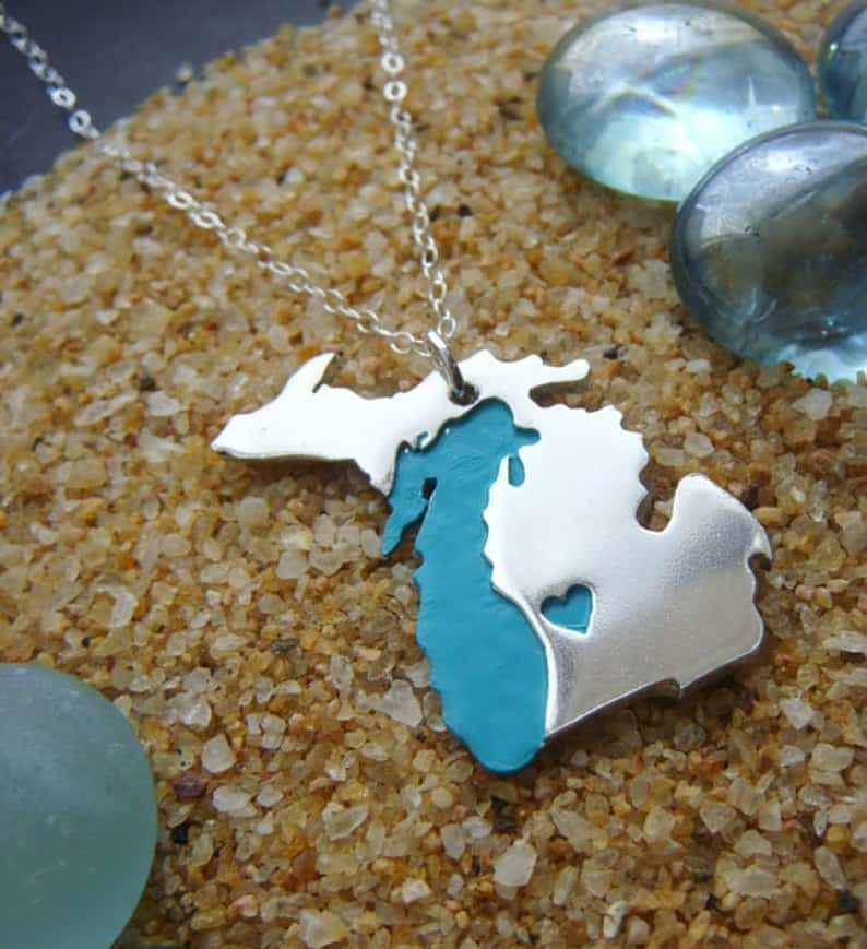 Heart in Michigan Necklace - an ultimate michigan gift idea