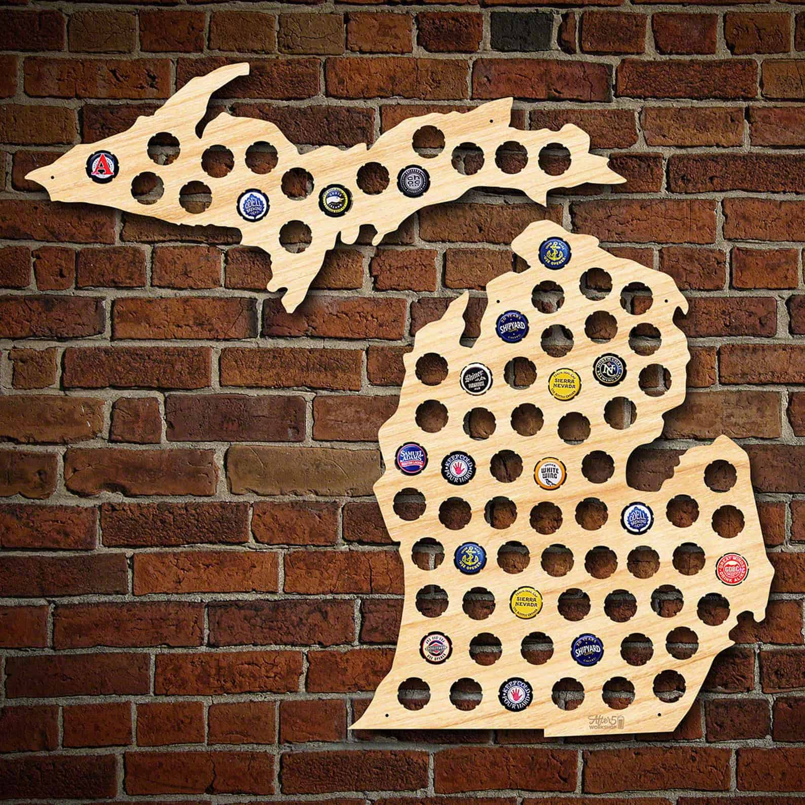 Michigan Beer Cap Map - an ultimate michigan gift idea