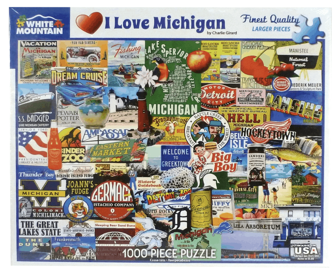 I Love Michigan Puzzle - an ultimate michigan gift idea