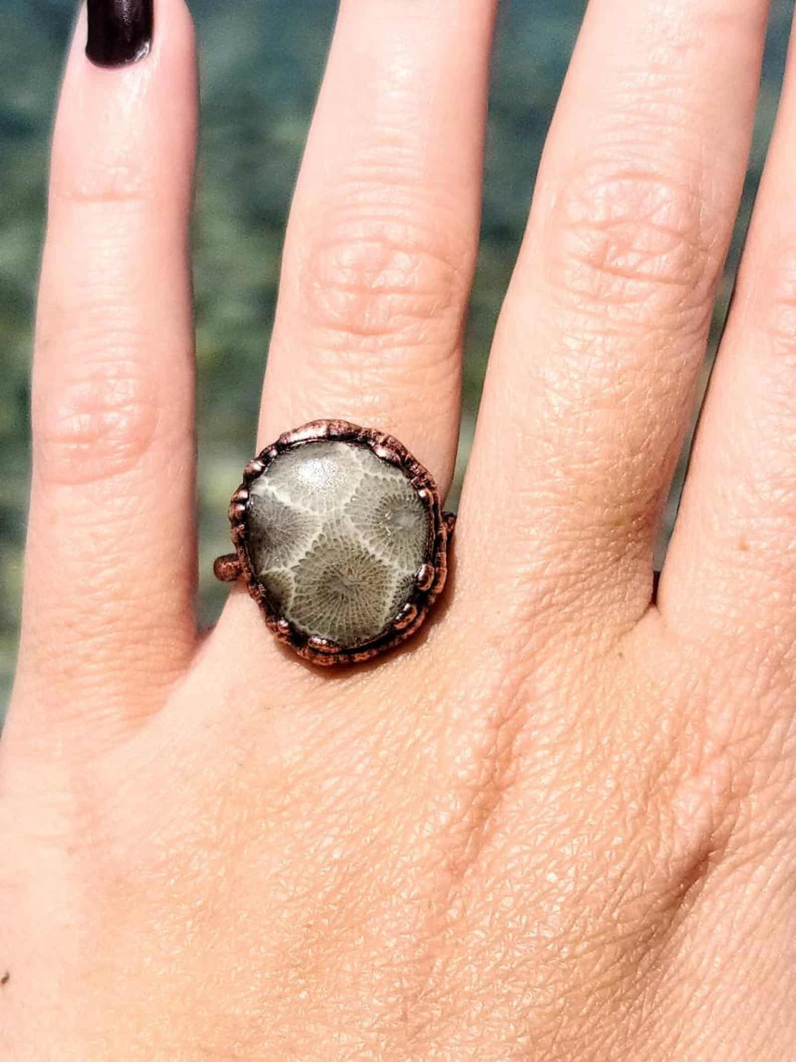 Petoskey Stone Ring - an ultimate michigan gift idea