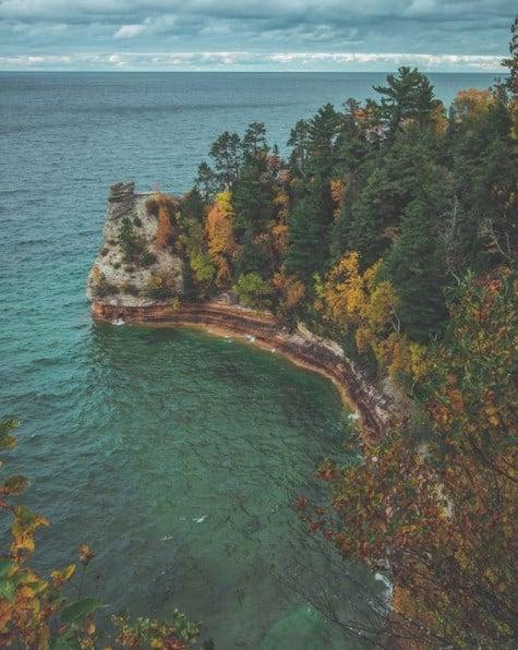 Michigan Upper Peninsula - Munising - Pictured Rocks - Miners Castle - Fall in Michigan