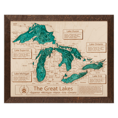 Great Lakes Wooden Topographical Serving Tray - an ultimate michigan gift idea